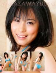 中澤優子 水色のビキニでシャワー